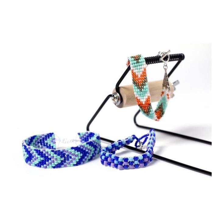 Métier à Tisser En Bois Acier Inoxydable Set De Tissage Machine à tricoter Perles Pour Bracelets De Bijoux -ROS