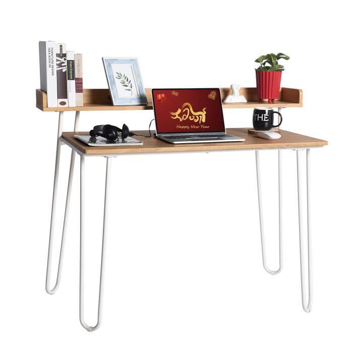 FURNISH1 Bureau pour Ordinateur avec Etagères de Rangement, Grand Bureau Moderne Table pour Ordinateur Bureau