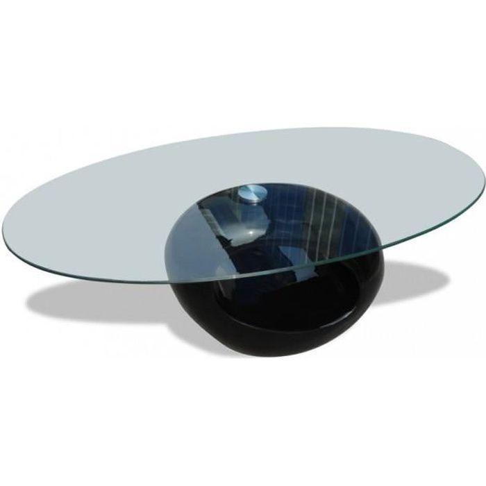 Tables basses Table basse en verre, pied noir laque