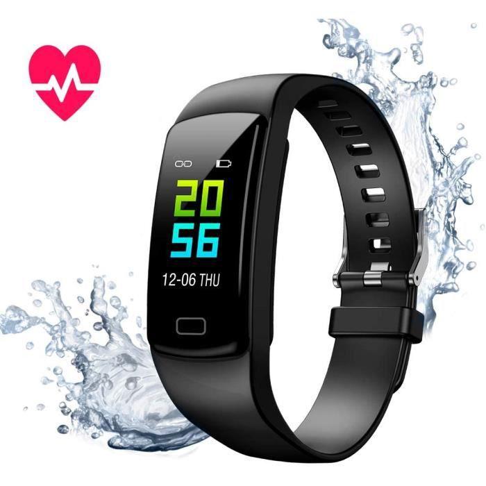 Montre Connectée Cardiofréquencemètre Bracelet Connecté Podomètre GPS Fitness Tracker d'Activité Tension Artérielle Android iOS nior
