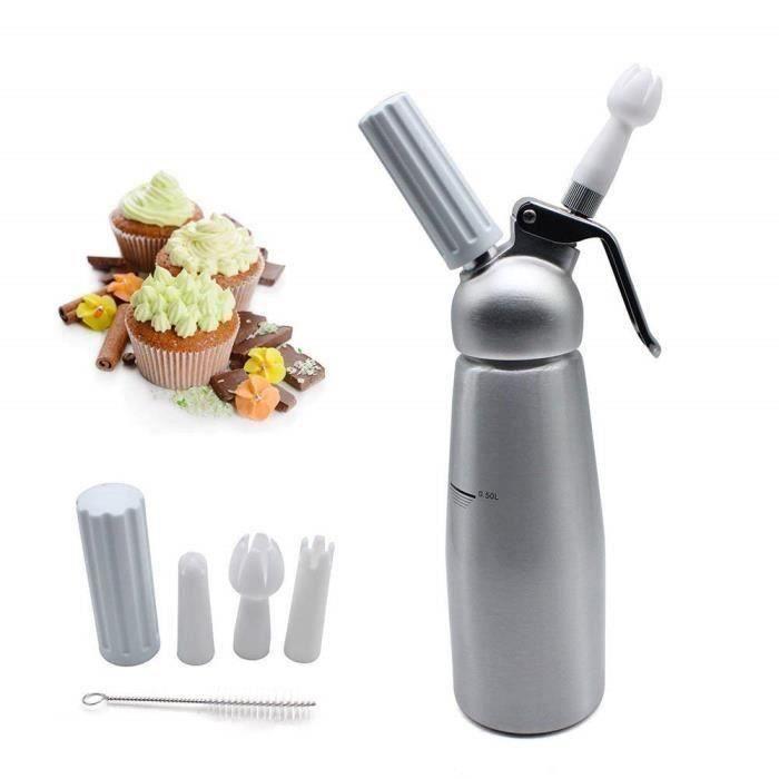 Siphon de cuisine professionnel pour mousses et chantilly siphon de crème batida 500ml aluminium