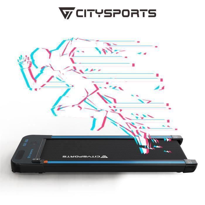 CITYSPORTS WP2 Tapis de Course Electrique Moteur 440W, Bluetooth Haut-parleurs Intégré, Vitesse Réglable, Ultra Fin et Silencieux