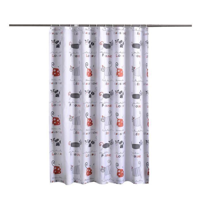 Rideau de Douche Imperméable Anti-moisissure Extra Larges - Longs Lavable Polyester Rideau de Bain Chat 220*200 cm