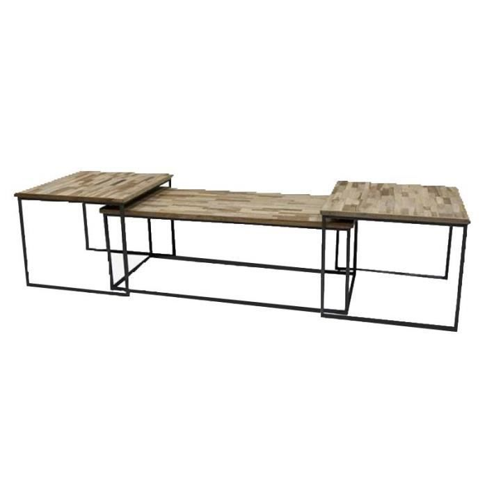 Ensemble 3 tables basses gigognes 120x55x42 cm Grande : 120 cm Petite : 60 cm Bois