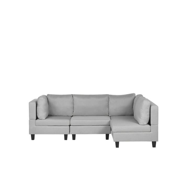 Canapé angle modulable 4 places en tissu gris clair FEVIK