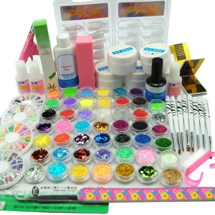 Coscelia Nail Art Kit Manucure Acrylique Gel UV Paillettes Base Primer Top Coat Decors Faux Ongles Primer Strass Outils Manucure