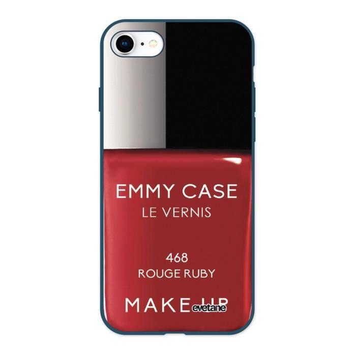 Coque iPhone 7/8 Silicone Liquide Douce bleu marine Vernis Rouge Ecriture Tendance et Design Evetane.