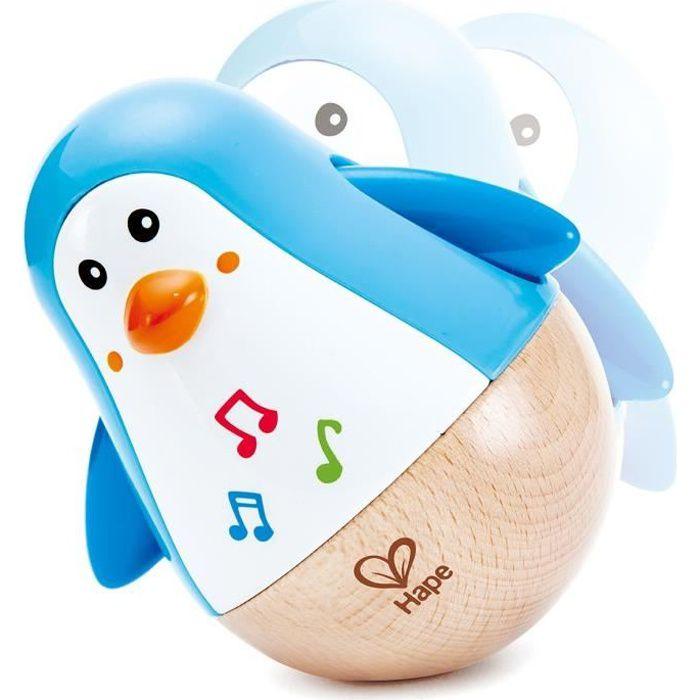 HAPE Jouet d'éveil musical en bois - Pingouin culbuto musical
