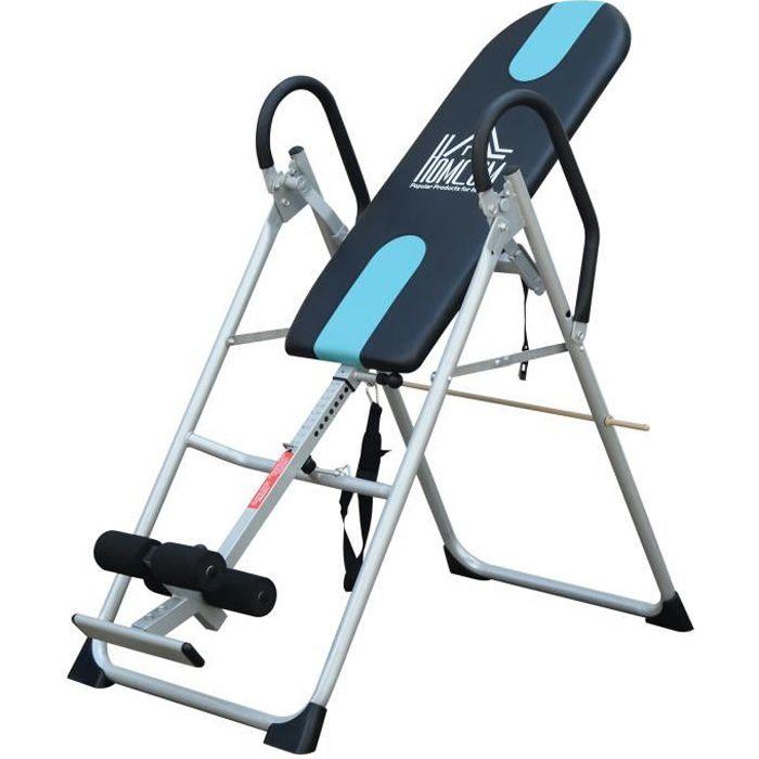 Table d'inversion de musculation pliable ceinture de sécurité réglable acier coloris argent noir neuf 53
