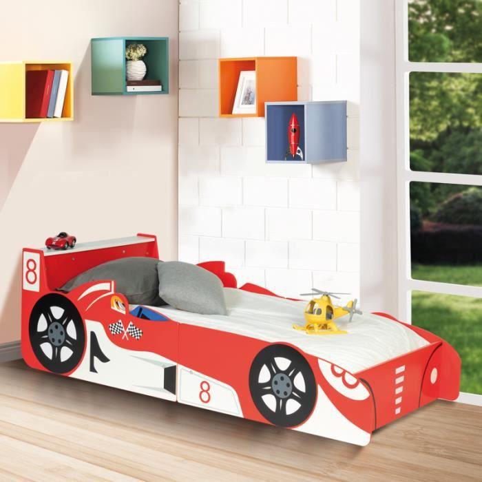 ID MARKET - Lit voiture formule 1 rouge TEDDI 140x70cm