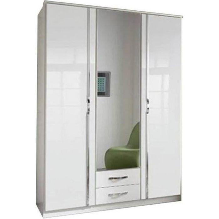 Armoire KROOS 3 portes miroir blanc / laquée blanc brillant blanc Bois Inside75