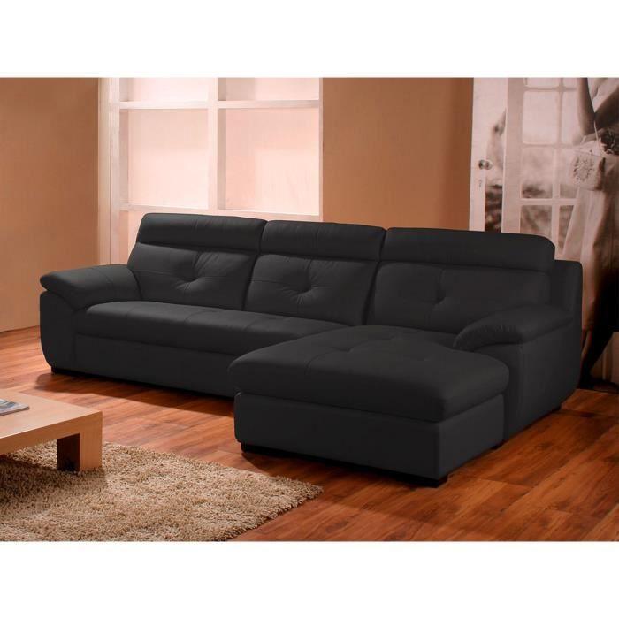 Canapé d'angle droit en cuir prestige noir DANA