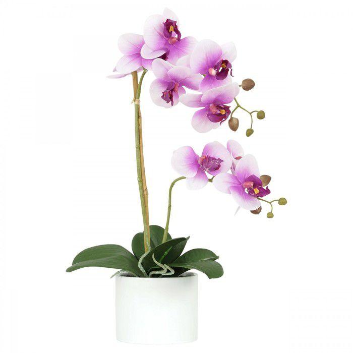Orchidée fuchsia artificielle pot céramique blanche 58 cm, composition fleurie artificielle, Ligne Déco