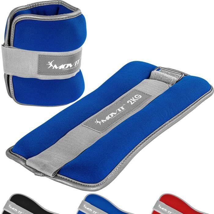 MOVIT Bandes lestées pour poignets et chevilles 2x2,0kg, néoprène bleu