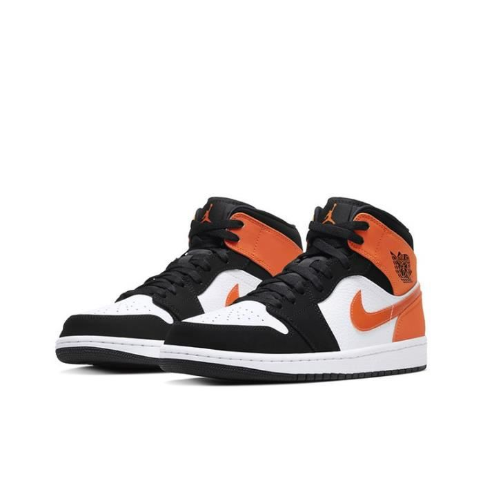 Air Jordan 1 Mid Shattered Backboard Chaussures de Sport Basket AJ 1 Pas Cher pour Homme Femme Orange