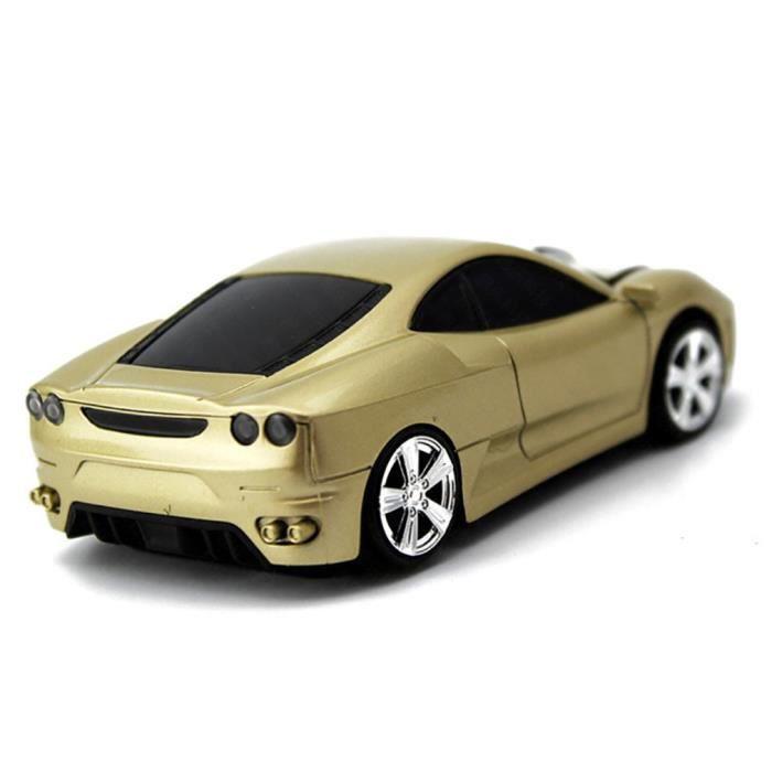 Modèle de souris sans fil de forme de conception de voiture Souris de modélisation automobile de voiture pour PC, or