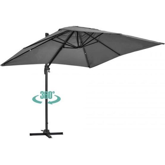 Parasol déporté rotatif, structure en aluminium, 2x3m modèle Amalya Gris