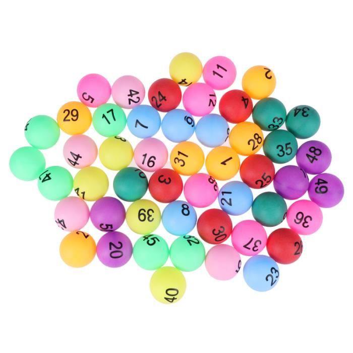 50 pièces balles de loterie numérotées imprimées PE 40mm de tennis de table de ping-pong pour de fête BALLE DE TENNIS DE TABLE