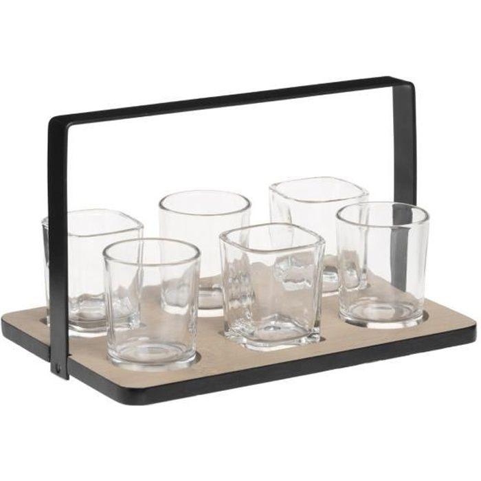 Secret de Gourmet - Set Apéritif 7 Pièces : 1 Plateau en Bambou et 6 Verrines en verre collection Bistrot theory