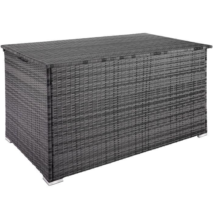 TECTAKE Coffre de Jardin de Rangement extérieur 750 L en Résine tressée et Aluminium Gris