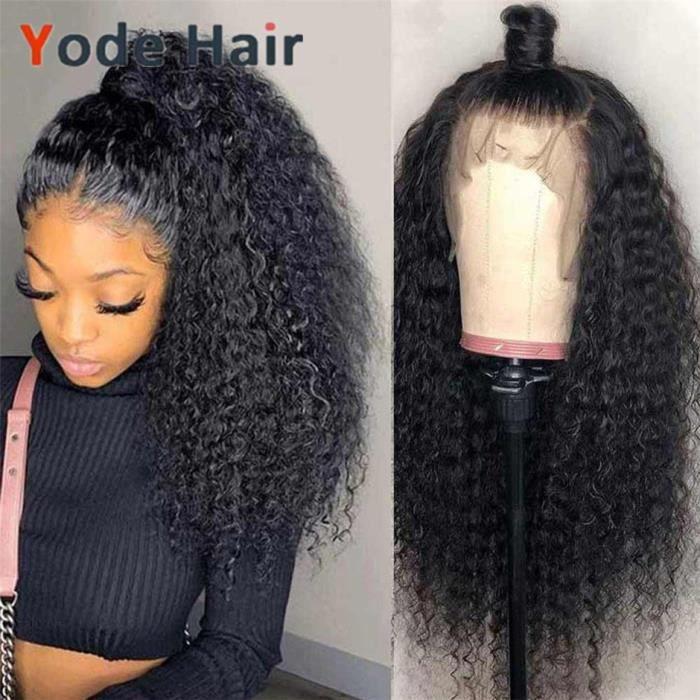 28pouce 13X4 Perruques De Cheveux Humains Perruques Frontale Perruque Malaisienne Crépus Bouclés Perruque
