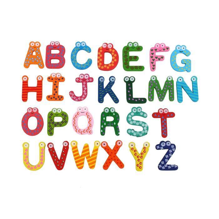 JEU D'APPRENTISSAGE 26pcs Lettres Alphabet en Bois Aimant de Réfrigéra