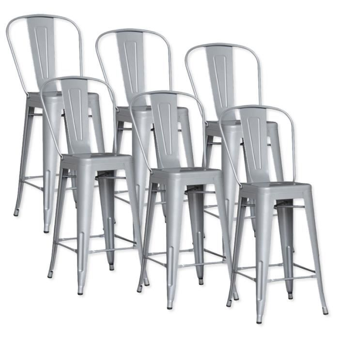 lot de 6 chaises de bar m tal loft laqu gris achat vente tabouret de bar gris cdiscount. Black Bedroom Furniture Sets. Home Design Ideas