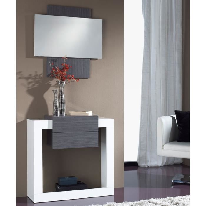 meuble d 39 entr e blanc cendre miroir neema taille l 80 x l 30 x h 79 couleur marketing. Black Bedroom Furniture Sets. Home Design Ideas