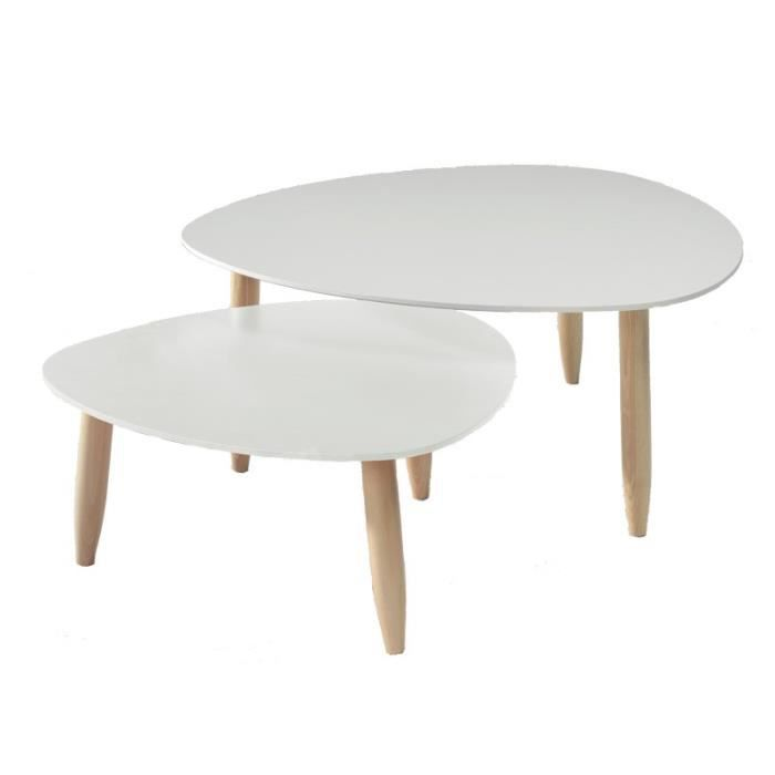 tables gigognes blanches ovni l 80 x l 80 x h 35 cm achat vente table basse tables. Black Bedroom Furniture Sets. Home Design Ideas