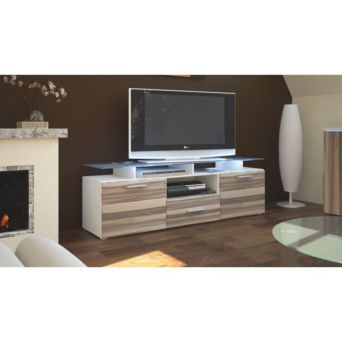 meuble tv 146x46x35 laqu blanc et bois nervur op achat. Black Bedroom Furniture Sets. Home Design Ideas
