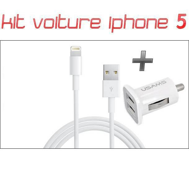 chargeur voiture double usb c ble lightning iphone 5 blanc achat chargeur t l phone pas. Black Bedroom Furniture Sets. Home Design Ideas