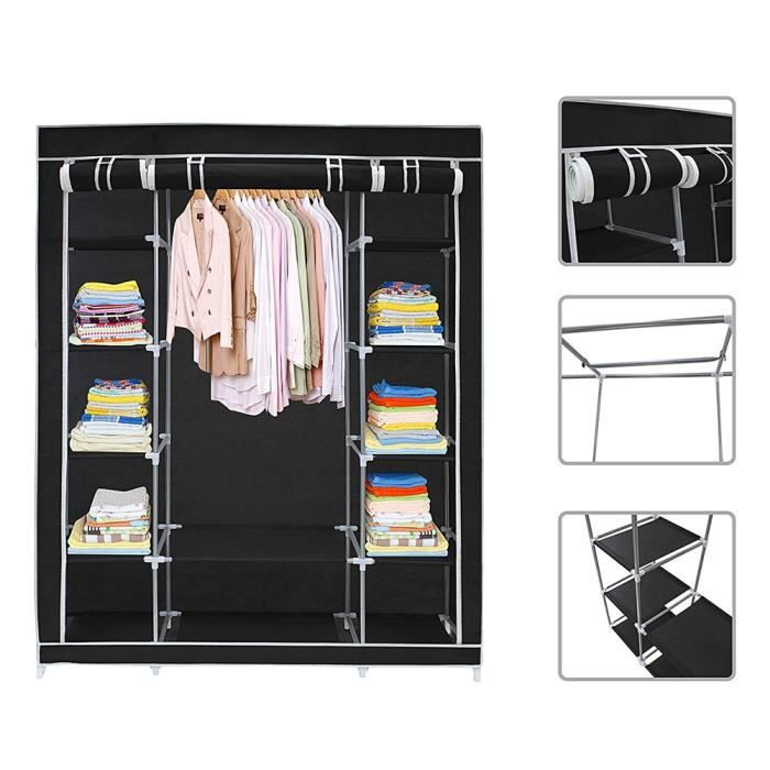 noir armoire de rangement armoire penderie en tissu garde. Black Bedroom Furniture Sets. Home Design Ideas