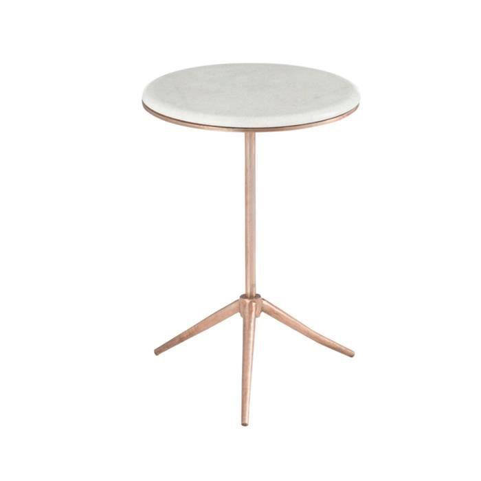 gigogne Table ronde sur en trépier fer cuivre 38x55cm wnPk0O