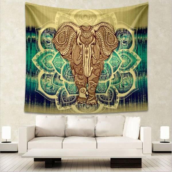hippie tapisserie l phant mandala boh me tenture murale couvre lit achat vente pi ce. Black Bedroom Furniture Sets. Home Design Ideas
