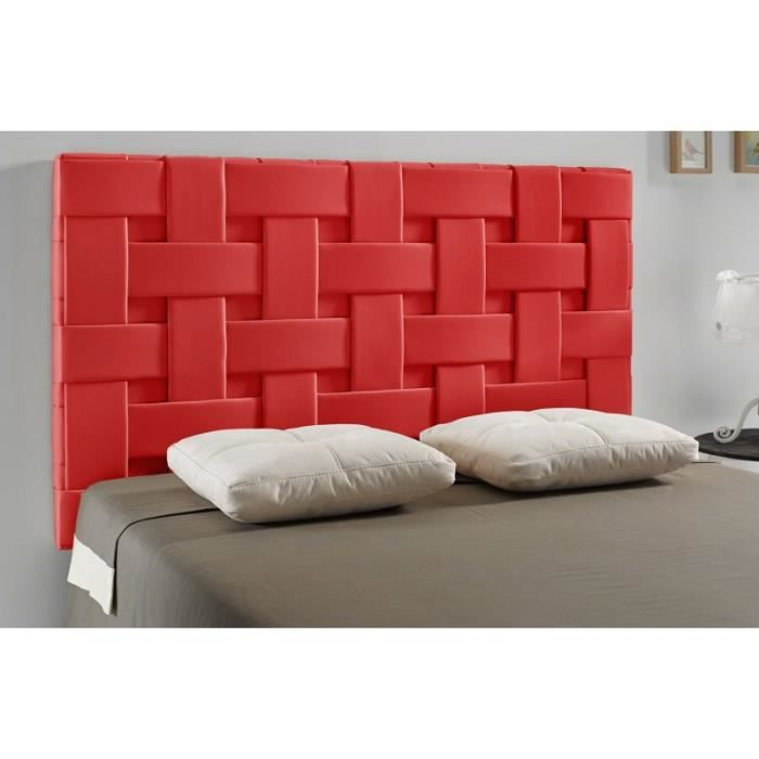 t te de lit tress pu couleur rouge mesure lit de 90 cm de large achat vente t te de. Black Bedroom Furniture Sets. Home Design Ideas