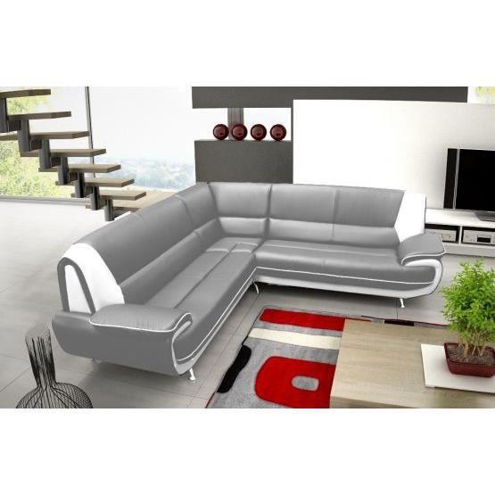 CANAPÉ - SOFA - DIVAN Canapé d'angle jenna xxl - reversible gris blanc
