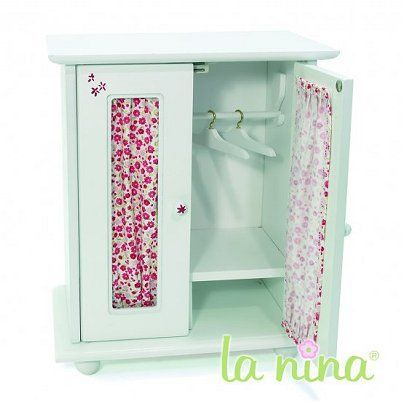 armoire pour poup e de 22 cm fleurs rouges achat. Black Bedroom Furniture Sets. Home Design Ideas