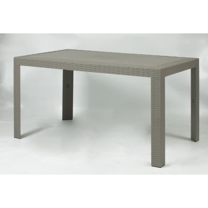 Table Rectangulaire URANO 140 x 80 x 72 Coloris Taupe ...