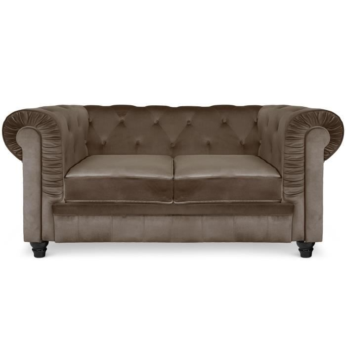 Canap 2 places chesterfield velours taupe achat vente canap sofa di - Canape chesterfield velour ...