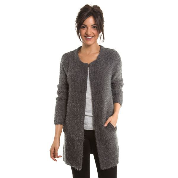 gilet long en laine gris gris achat vente gilet cardigan les soldes sur cdiscount. Black Bedroom Furniture Sets. Home Design Ideas