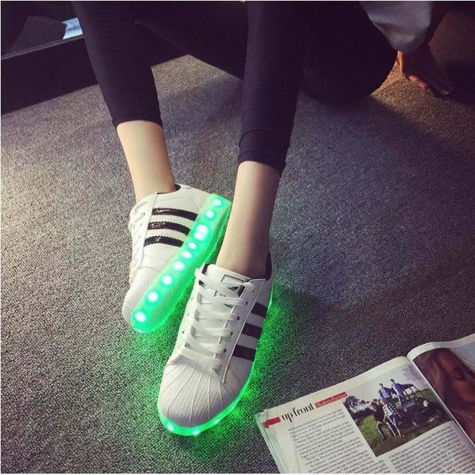Couleurs Rechargeable Usb Femme Homme Chaussures Led 7 W9EI2DHY