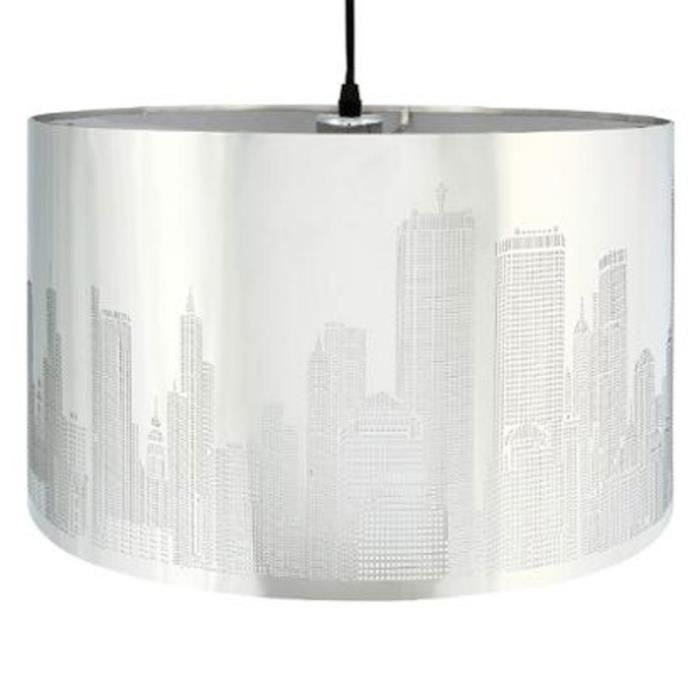 paris prix lampe suspension new york 39cm argent achat vente paris prix lampe suspensi. Black Bedroom Furniture Sets. Home Design Ideas