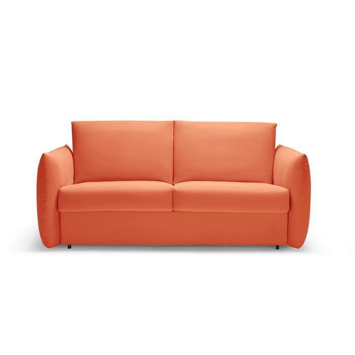 Canap convertible lit rapido neil orange 140 cm achat for Canape lit pour couchage quotidien