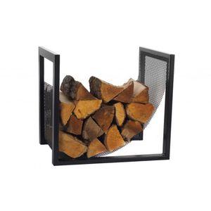 PANIER PORTE BUCHES Rack à buches en acier noir 50x40x50 cm
