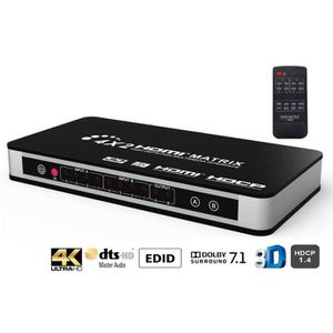 REPARTITEUR TV HDMI Martix 4x2 ,4k commutateur ,Audio video Split