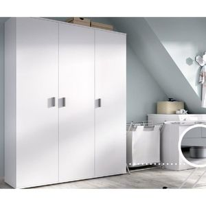 ARMOIRE DE CHAMBRE Armoire avec 3 portes coloris blanc - H 190 x L 11