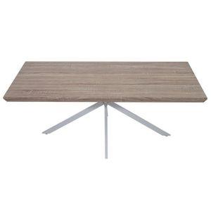TABLE BASSE Table basse coloris chêne clair avec pieds en méta