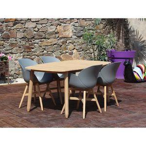 Salon de jardin LOMBOK - Couleur - Gris, Dimensions - Table ...