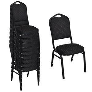 CHAISE 10pcs Chaise empilable Design ergonomique et épais
