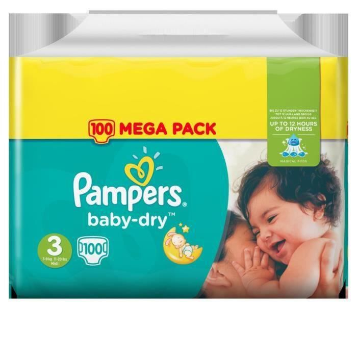 Pampers baby dry mega t3 x100 achat vente couche 4015400844006 les soldes sur - Couche pampers baby dry taille 3 ...